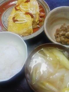 オムレツ&納豆