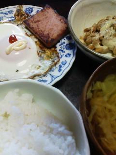 目玉焼き&納豆