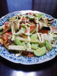 夏野菜サラダうどん